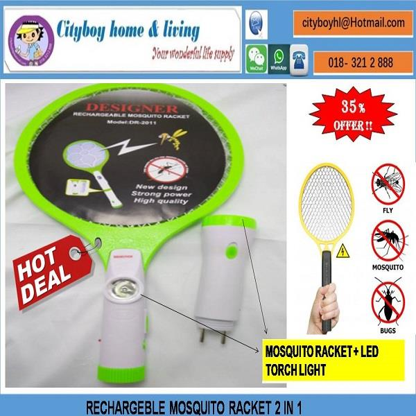 MOSQUITO RACKET RECHARGEABLE C/W LED LIGHT