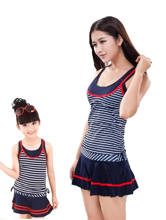 Mother Daughter Sisters Swimsuits, Swimming Dress 2 Pieces Set