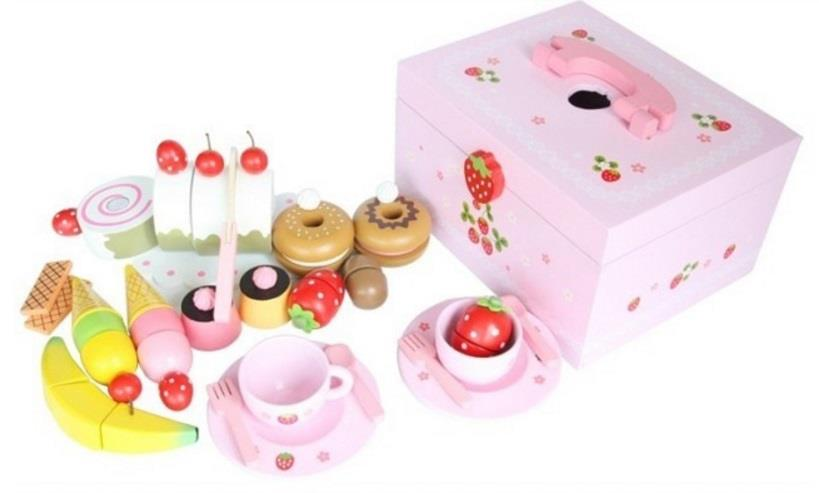 Mother Garden Wooden Strawberry Tea Set for Play Pretend