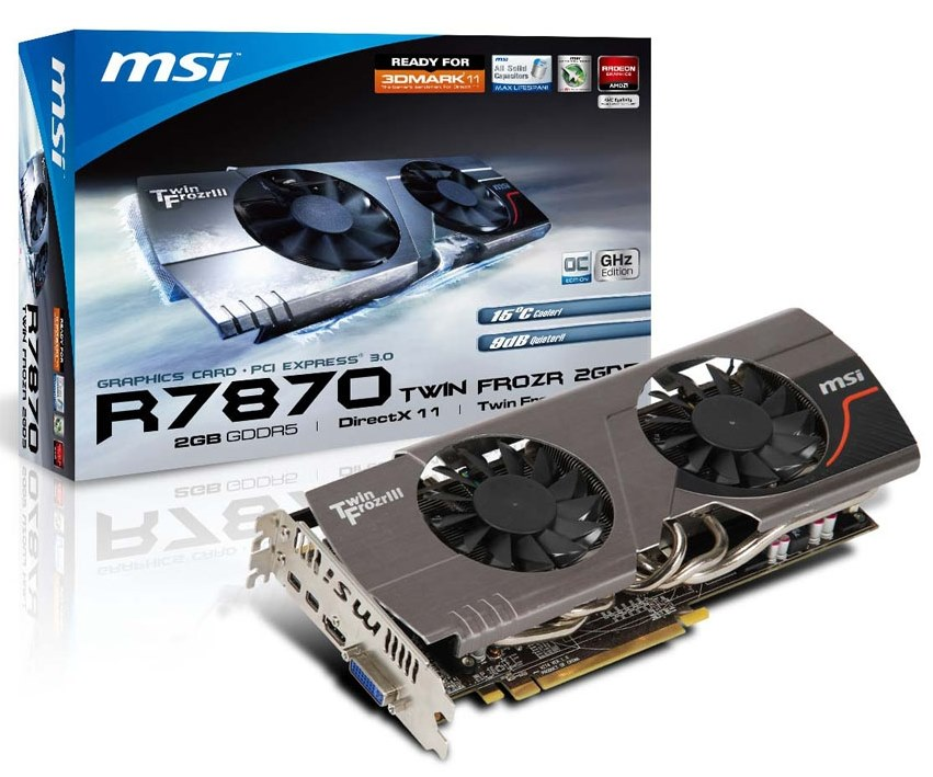 MSI ATI HD7870 TWIN FROZR III 2GB DDR5 256bit PCI-E Graphic Card