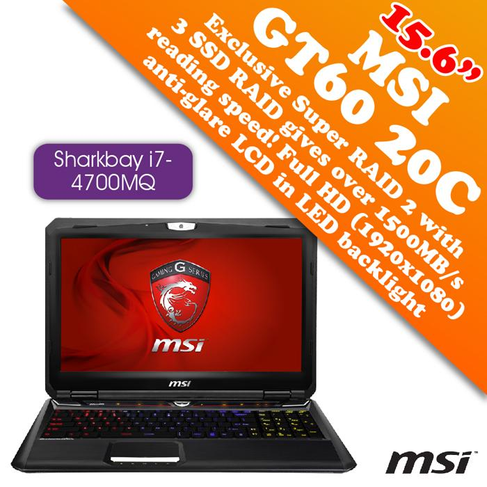 MSI GT60 20C-045MY Notebook(i7-4700MQ 3.4GHz,750GB,8GB DDR3,3GB DDR5)