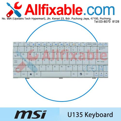 MSI U135 Wind U135DX U130 U160 U160MX U160DX U180 L1600 Keyboard