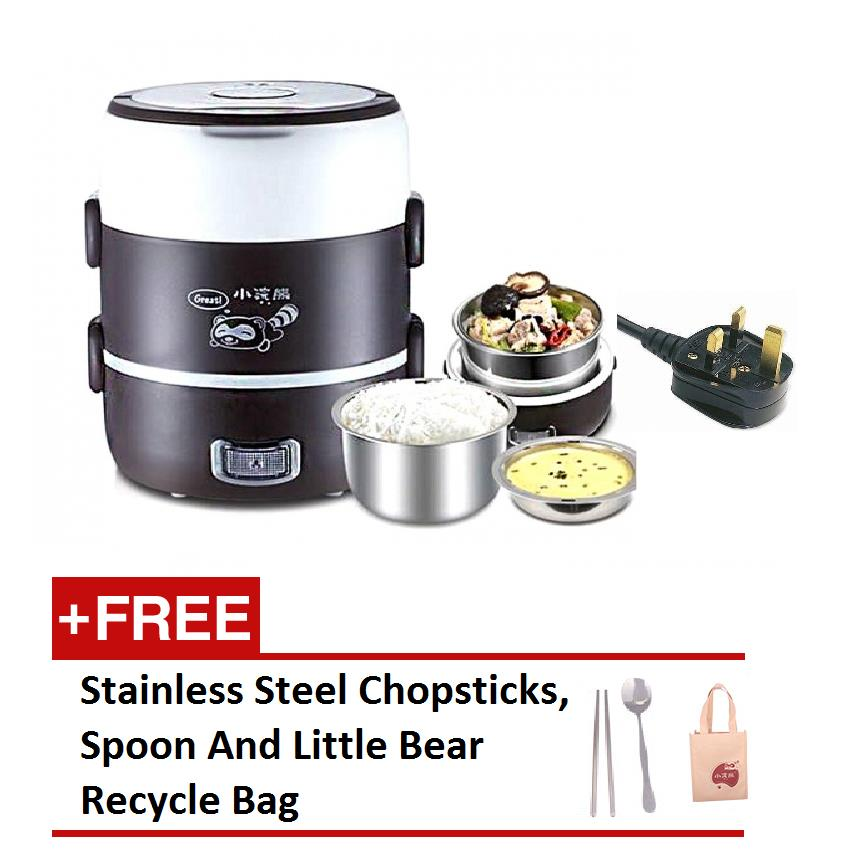 (MSIA Power Plug)3 Layer Multifunctional Electric S.Steel Lunch Box