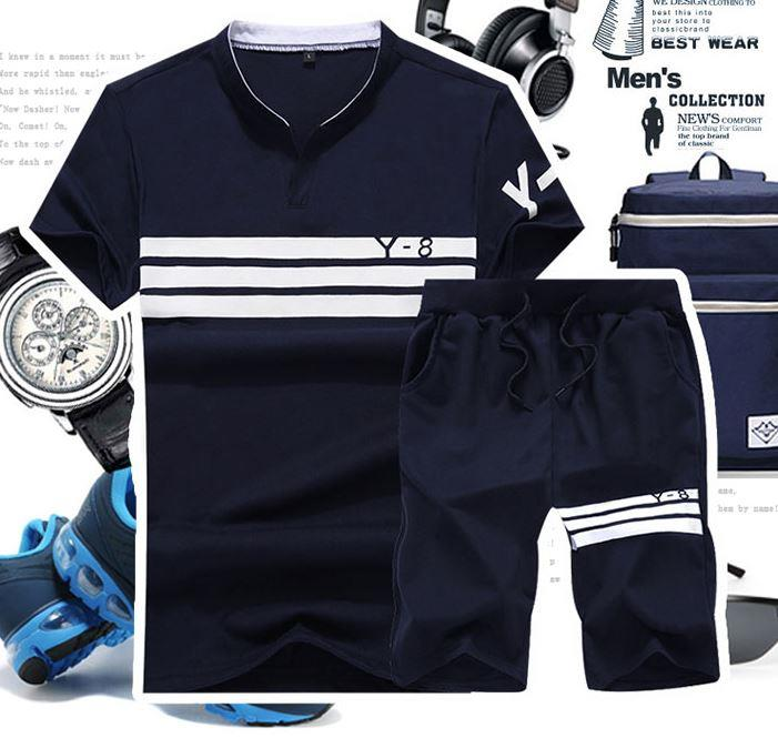 MSP03 Men Sport Casual Short Sleeve Shirt and Short pants in 1 set