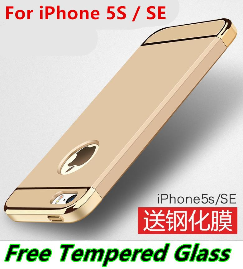 Msvii Apple iPhone SE 5S 5 Back Case Cover Casing +Free Tempered Glass