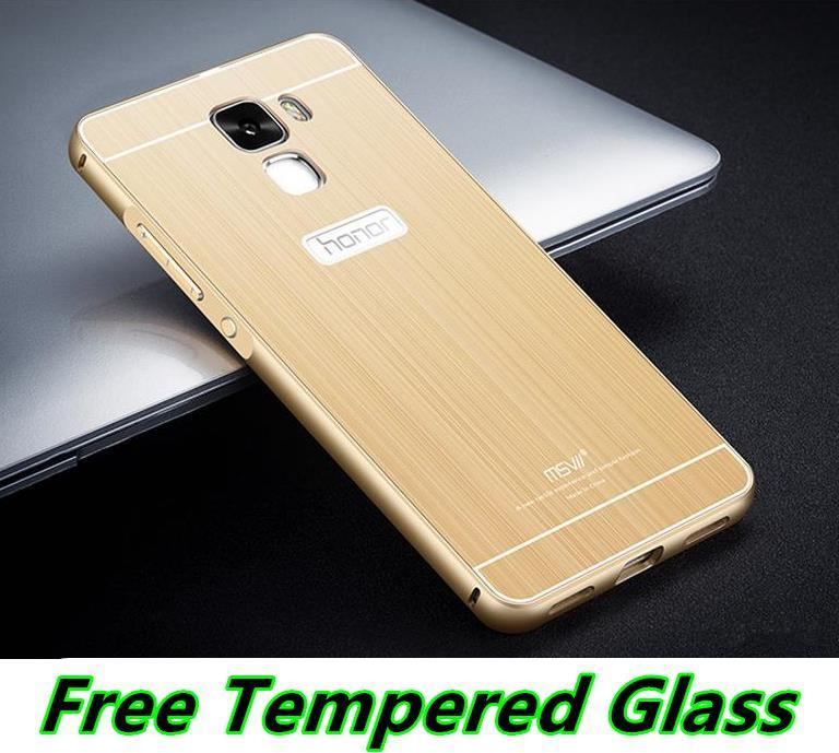 Msvii Huawei Honor 7 Metal Frame Case Cover Casing + Tempered Glass