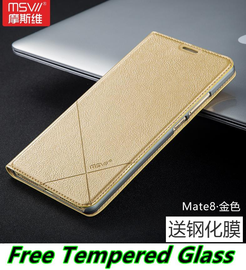 Msvii Huawei Mate 8 Mate8 Flip Case Cover Casing + Tempered Glass
