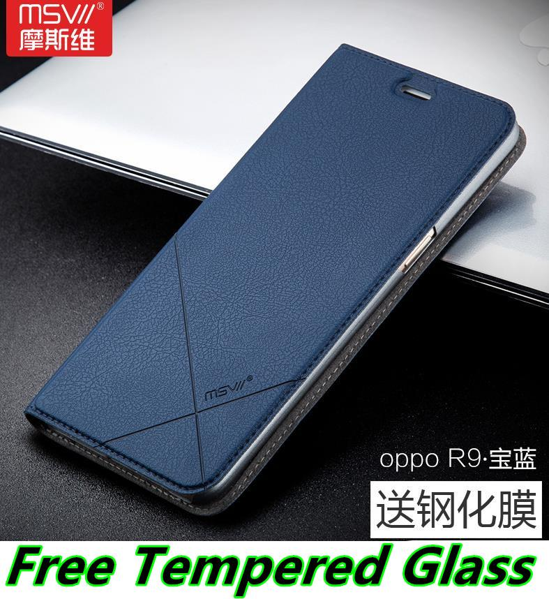 Msvii OPPO R9 F1 Plus Flip Smart Case Cover Casing + Tempered Glass