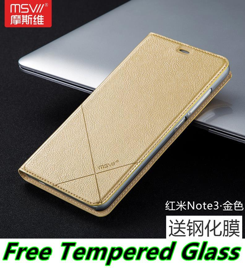 Msvii Xiaomi Redmi Note / 3 Flip Case Cover Casing + Tempered Glass