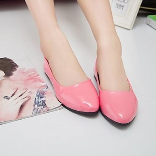 MT004304 Korean Women Influx Patent Leather Pointed Flat Shoes