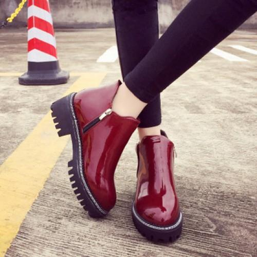 MT009470 Korean Retro Side Zipper Round Winter Martin Boots