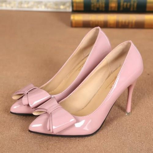 MT009936 Sweet Princess Bow Pointed Patent Leather High-Heeled Shoes