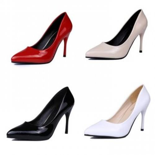 MT009937 OL Patent Leather Pointed High-Heeled Shoes