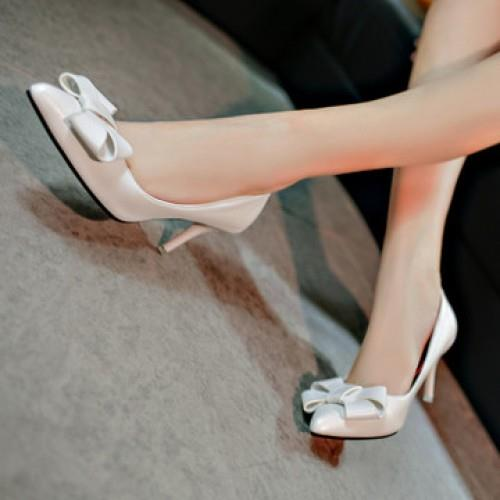 MT009940 Europe PU Leather Bow Pointed Heel Shoes