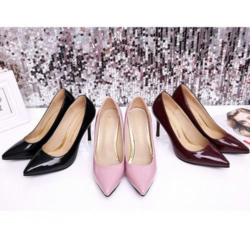 MT010411 Korean OL Simple Pointed Patent Leather High-Heeled Shoe