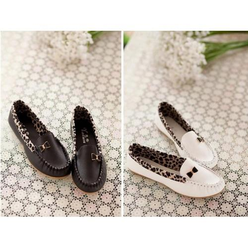 MT010848 Sweet Stitching Leapord Bow Round Flat Shoes