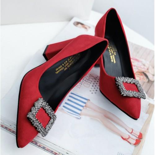 MT010939 Square Rhinestones Buckle Thick  Heel Pointed Suede Wedding S