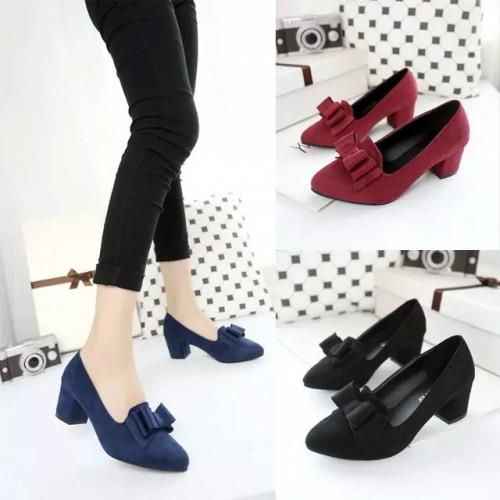 MT010951 Thick Heel Bow OL Pointed Shoes