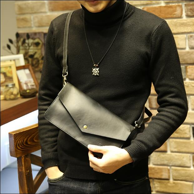 Multi functional business men single shoulder zipper clutch bag