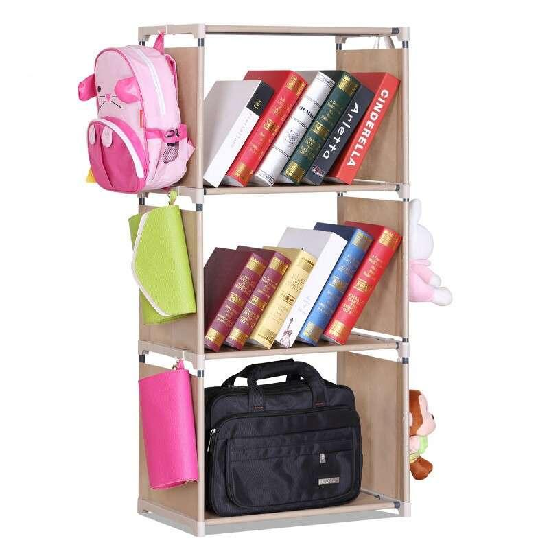 Multipurpose 3 Tiers Easy DIY Bookshelf with 6 Hangers