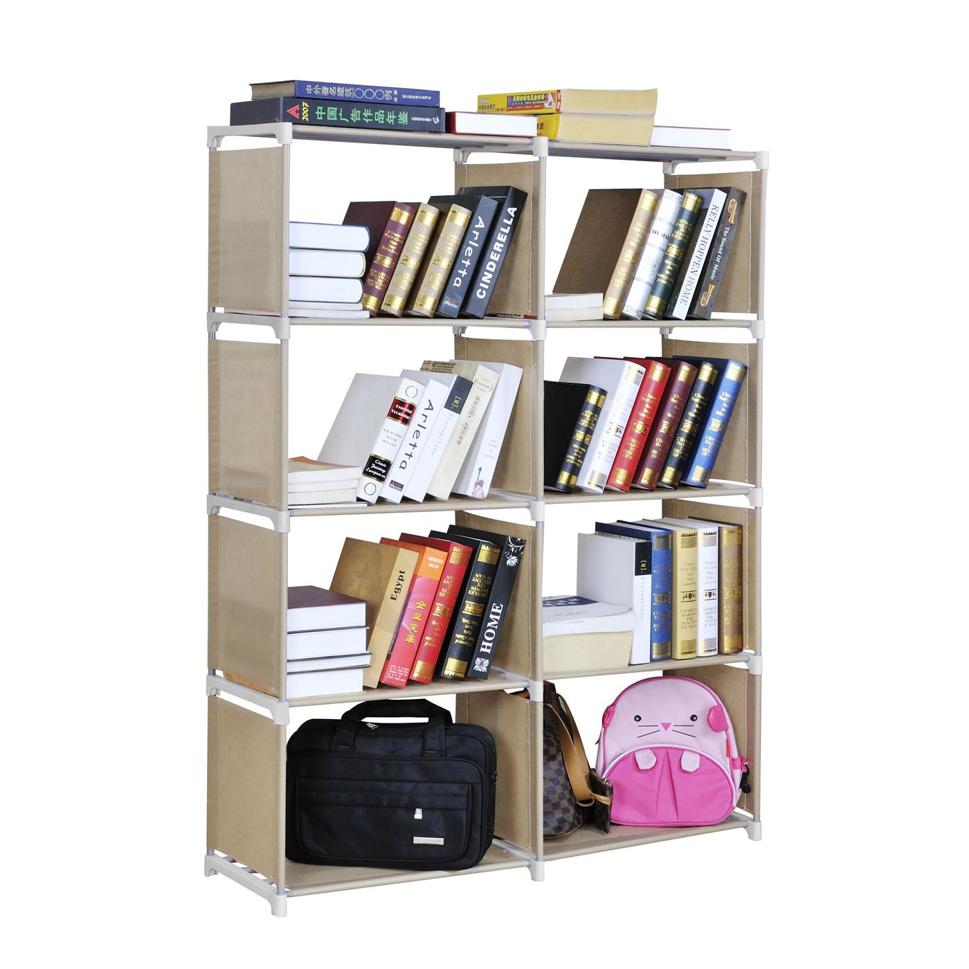Multipurpose 4 Tiers 2 Columns Easy DIY Bookshelf Book Case
