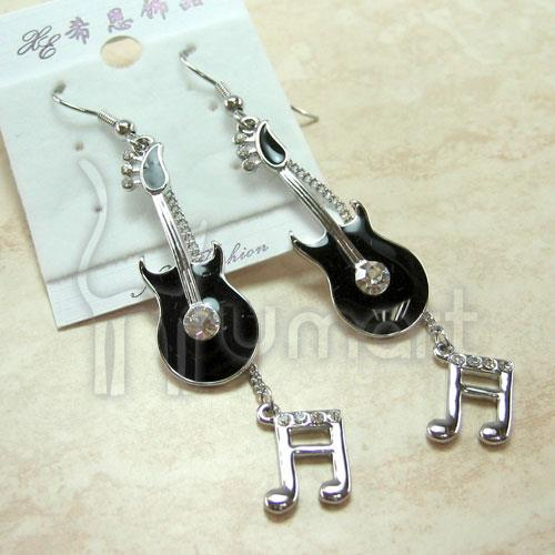 Music Notes Rock Guitar Diamond Earrings