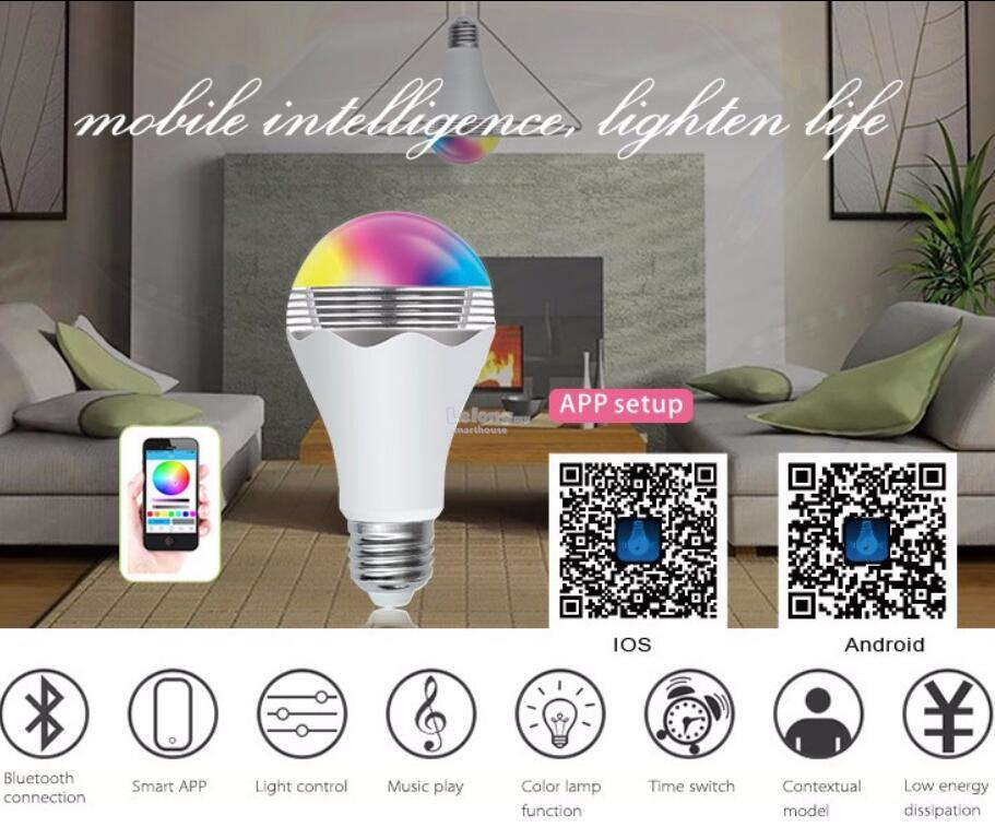Music Play Color&Time Switch Model Smart Bulb Spearker via bluetooth