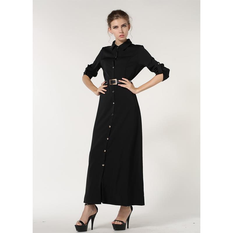 Muslimah Long Sleeve Black Maxi Dress Baju Kurung Jubah