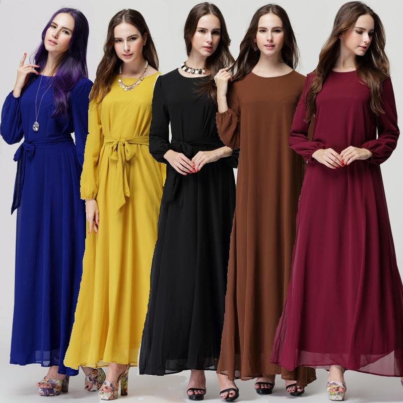 Muslimah Long Sleeve Tie Blet Wrap Dress-5 colors Baju Kurung Jubah