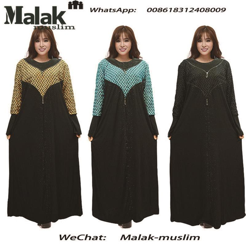 Muslimah Zipper Front Long Sleeve Robe -3 Colors Baju Kurung Jubah