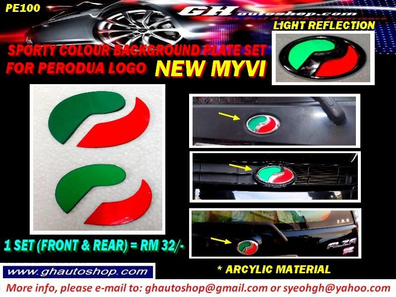 NEW MYVI / MYVI ICON COLOUR BACKGROUND PLATE SET FOR PERODUA PE100