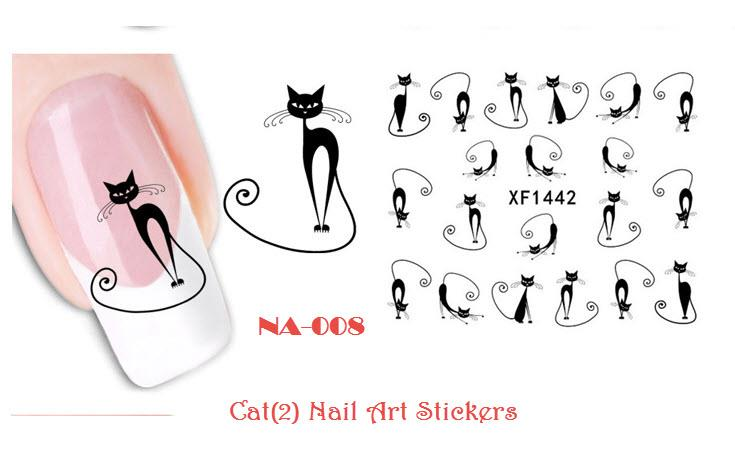 NA-008 Cat (2) Water Decal Nail Art Stickers ( DIY)