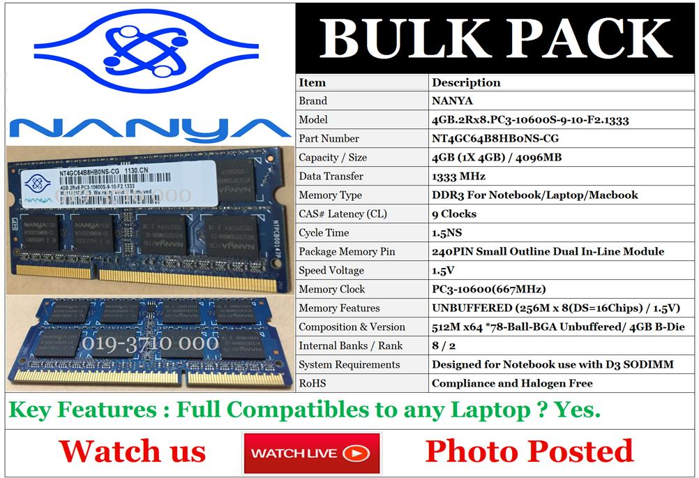 NANYA 4GB PC3-10600 DDR3-1333 2Rx8 1.5V 204-pin SODIMM Memory For NB