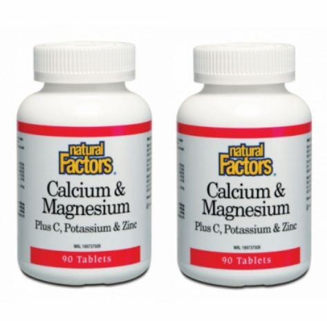 NATURAL FACTORS CALCIUM & MAGNESIUM PLUS C, POTASSIUM & ZINC 2X90´S
