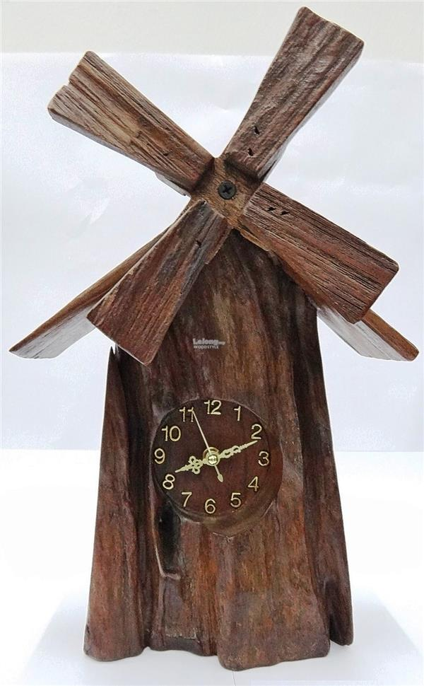 Natural Rustic Driftwood Wall clock with Windmill design #005