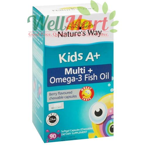 NATURE'S WAY KIDS A+ MULTI + OMEGA-3 FISH OIL 90's