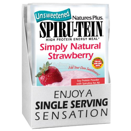 Nature's Plus SPIRU-TEIN Simply Natural Strawberry -- 8 packets