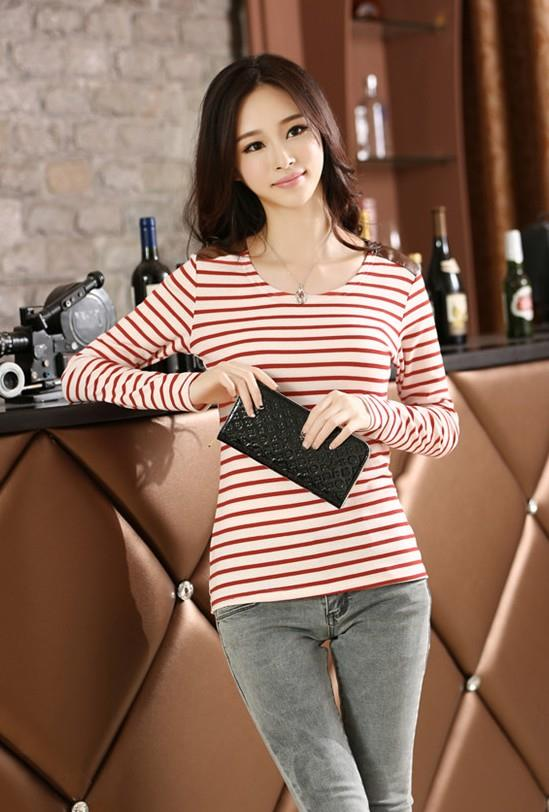 Navy Stripe Long-sleeve Blouse (Red)