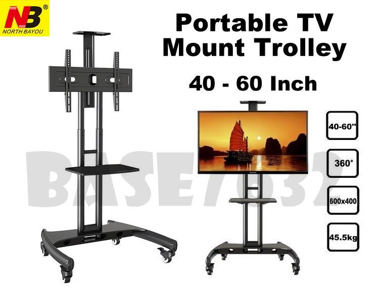 NB 40 to 60 Inch Portable TV Trolley Stand Mount Bracket AVA1500-60-1P