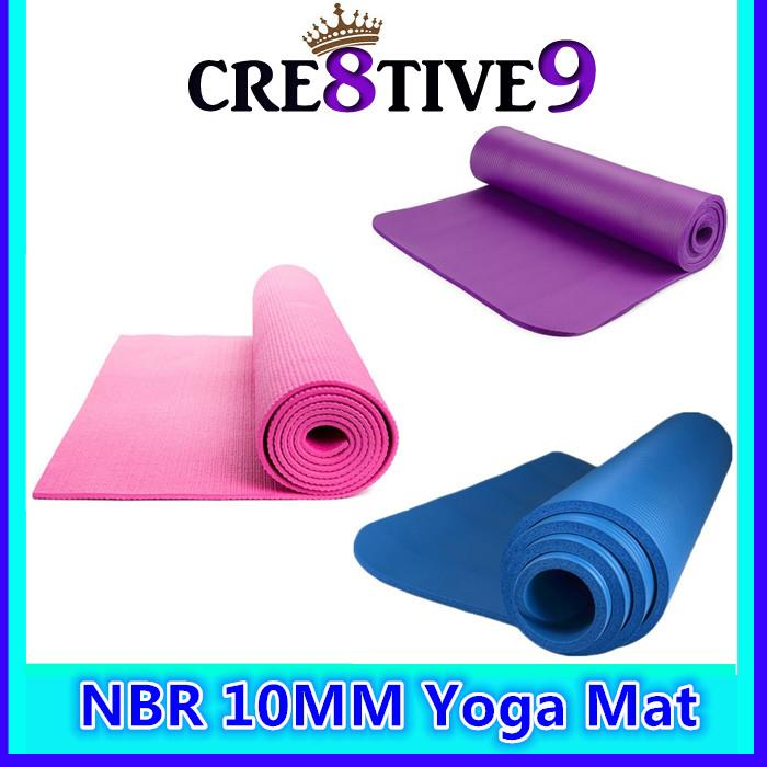 NBR 10MM Yoga Mat Purple / Pink / Blue