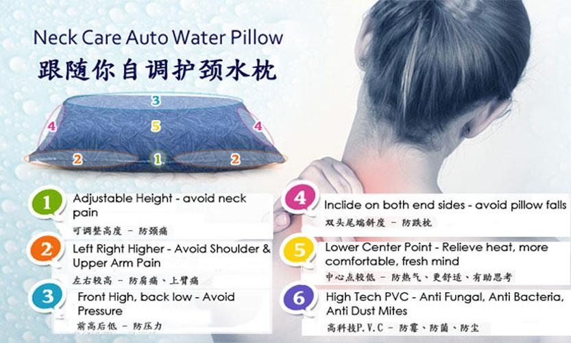Neck Care Auto Water for Pillow for Neck Shoulder Pain Relie (Size L)