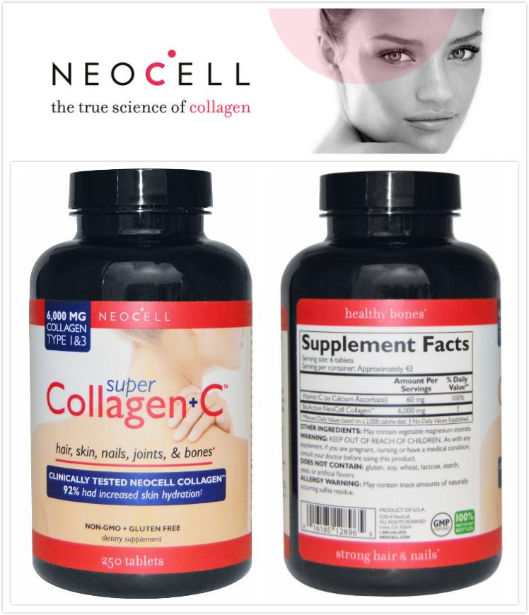 Neocell, Super Collagen+C, Type 1 & 3, 6000 mg (250 Tablets)