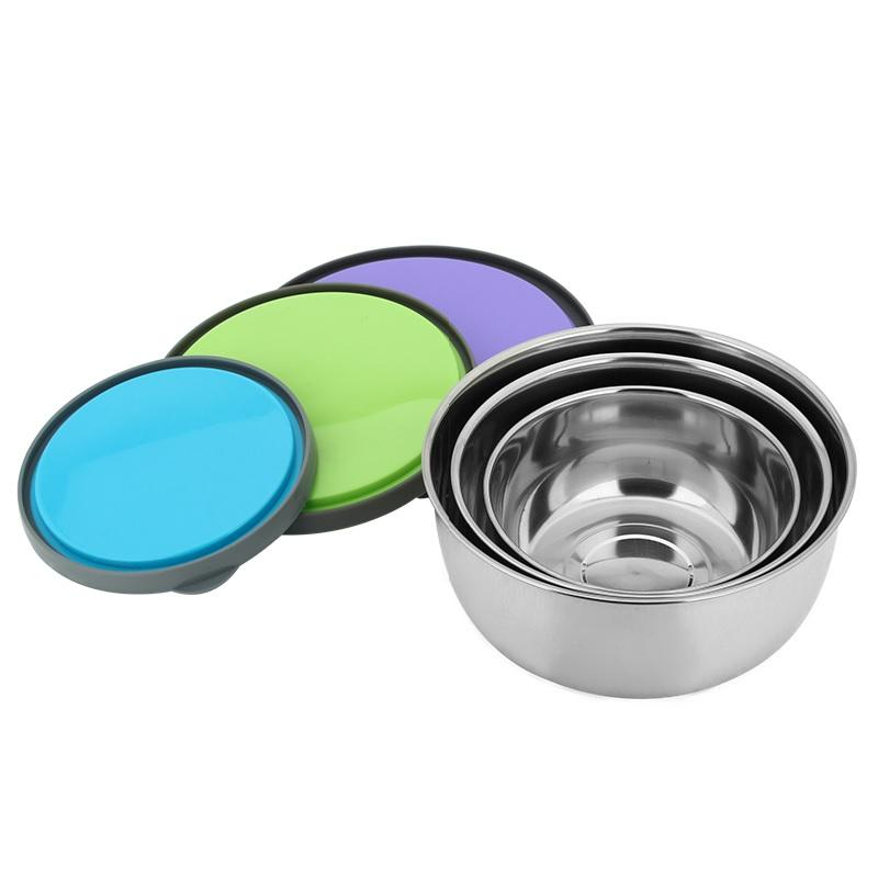 Round Nesting Trio Food Storage Stainless Steel Container Set of 3