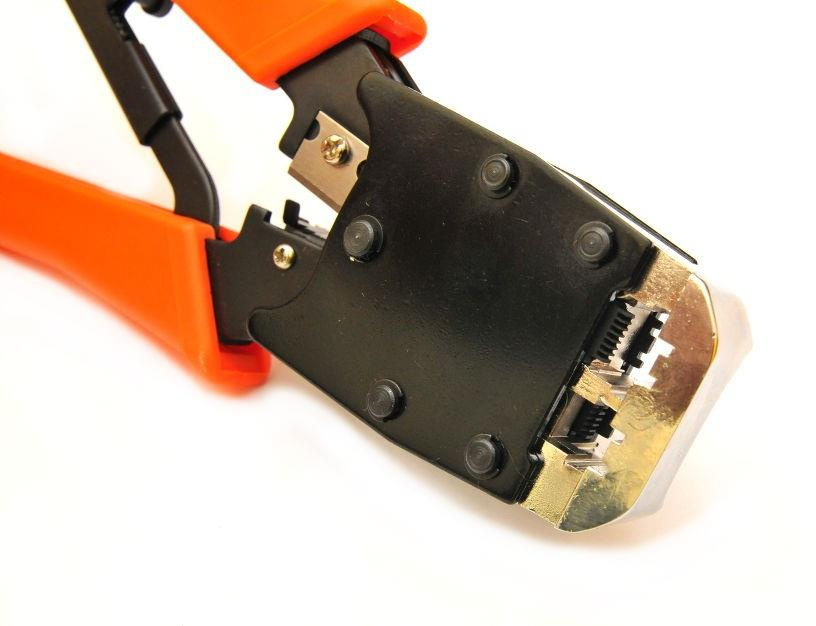 Network Cable Dual Modular Crimping Tool For Cuts Strips Crimps