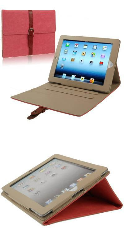 New iPad / iPad 2 Third Gear Holder with Buckle - Red Color
