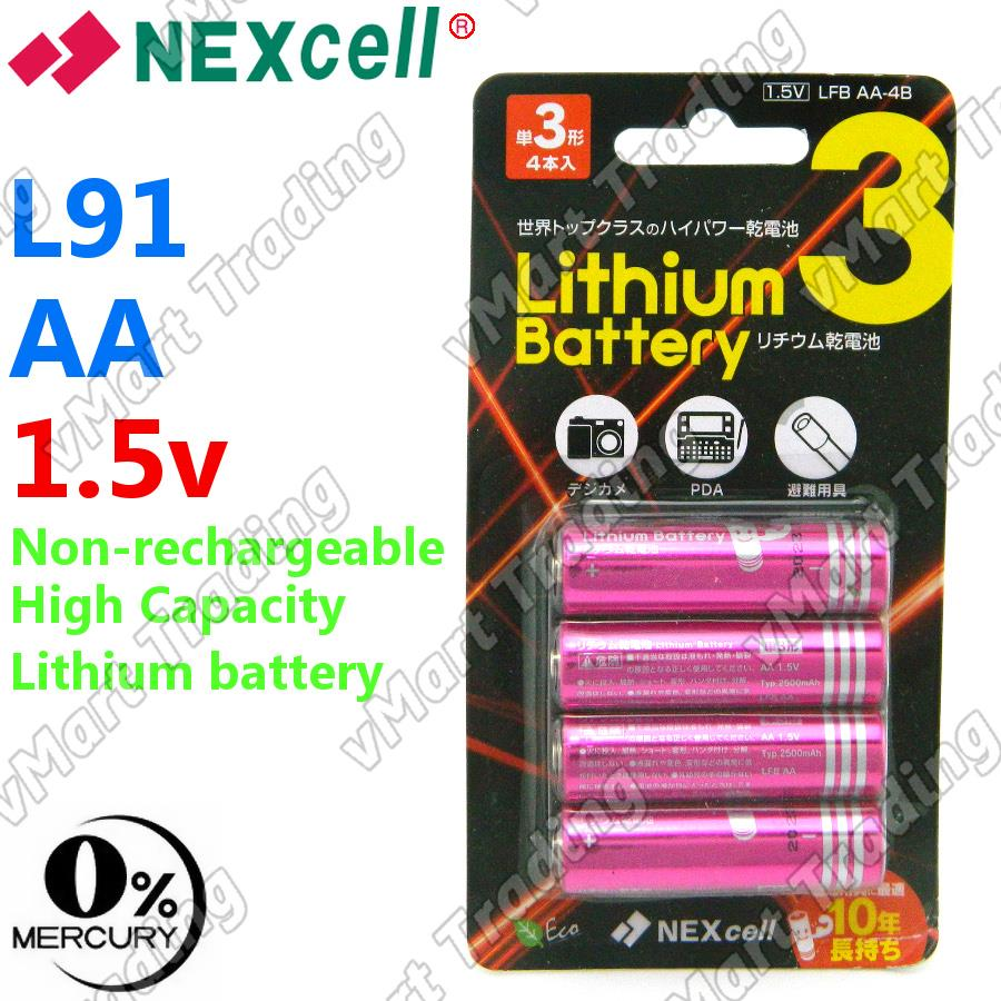 Nexcell LFB AA-4B L91 Lithium 1.5V Powerful AA Battery [4 pieces]