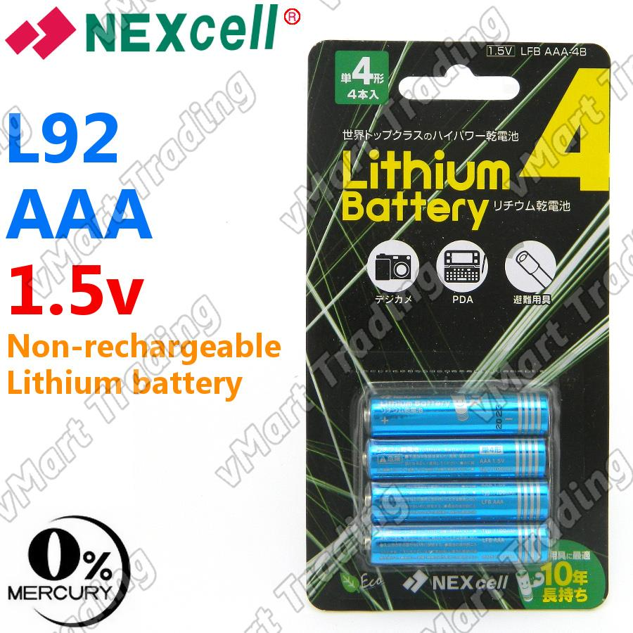 Nexcell LFB AAA-4B L91 Lithium 1.5V Powerful AAA Battery [4 pieces]