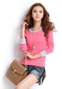 Nice Quality Long Sleeve Blouse 14326 (Rose Pink)