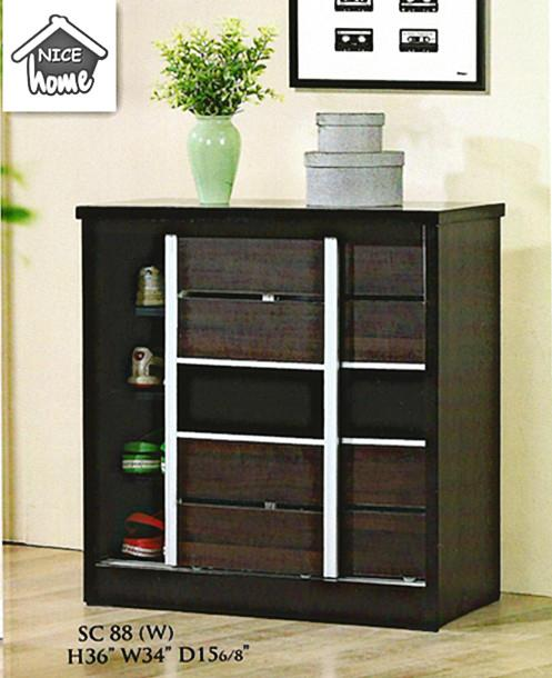 NiceHome Furniture CHEAPEST SLIDING DOOR SHOE CABINET - SC88 WENGE
