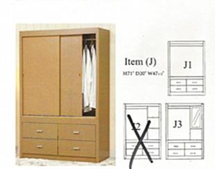 NiceHome Furniture HOT Seller 2DOOR SLIDING Wardrobe model-ITEM J1